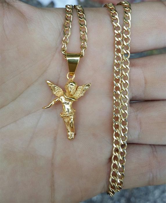 Unique Ice Gold Angel Pendent